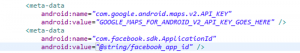 The placement of Facebook app identifier in the Android Manifest file