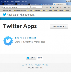 Screen to add a new app to Twitter or work with the existing ones
